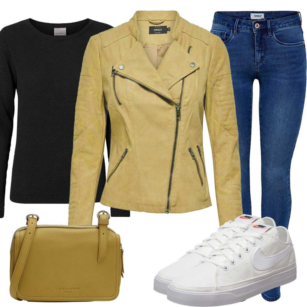 Damenoutfit mit gelber Lederjacke und Tasche