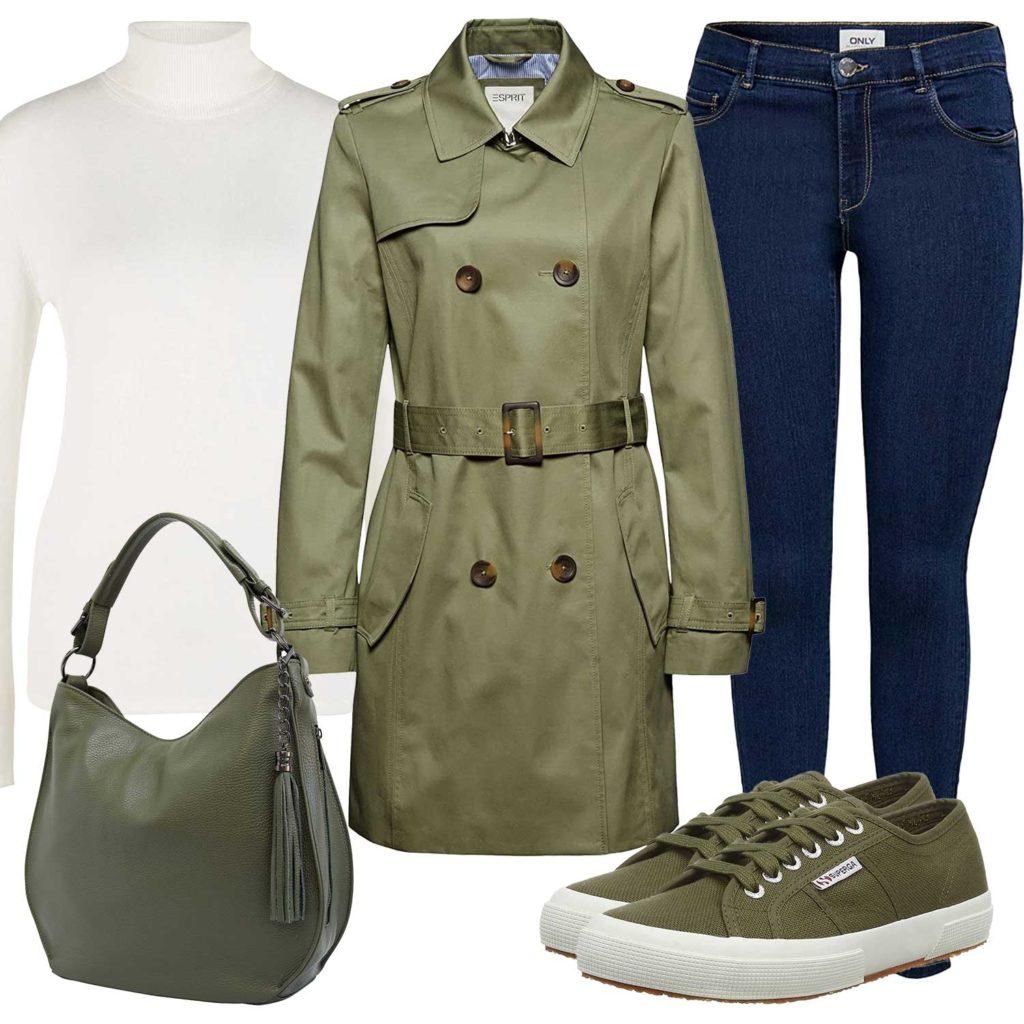 Damenoutfit mit grünem Trenchcoat und Sneakern