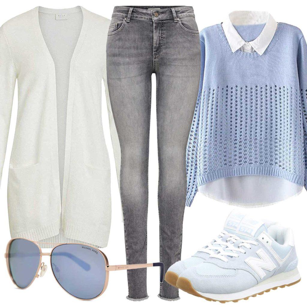 Damenoutfit mit Bluse und Strickjacke