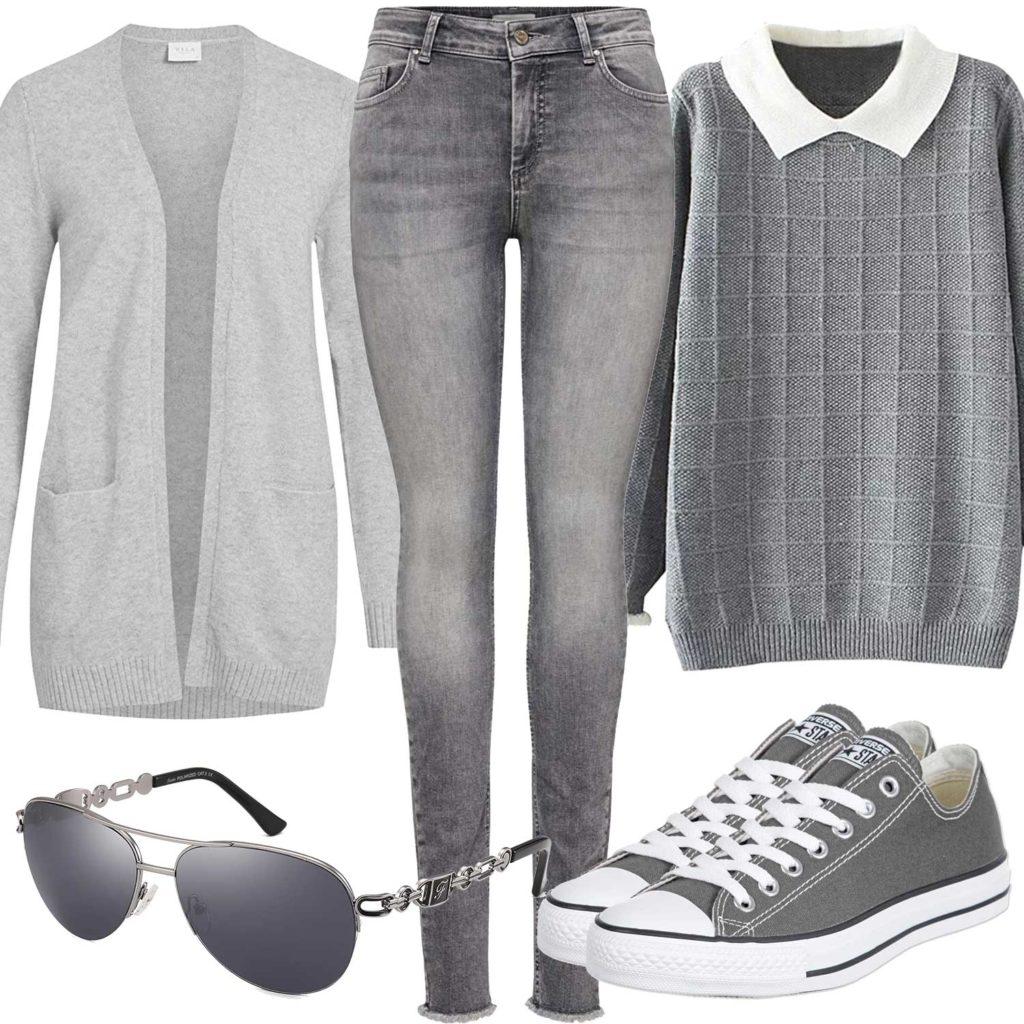 Graues Damenoutfit mit Strickjacke und Jeans