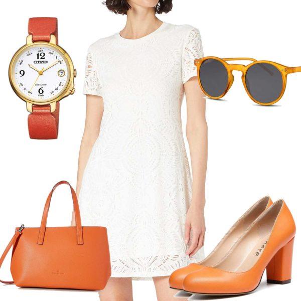 Weiß-Oranges Frauenoutfit mit Kleid und Uhr