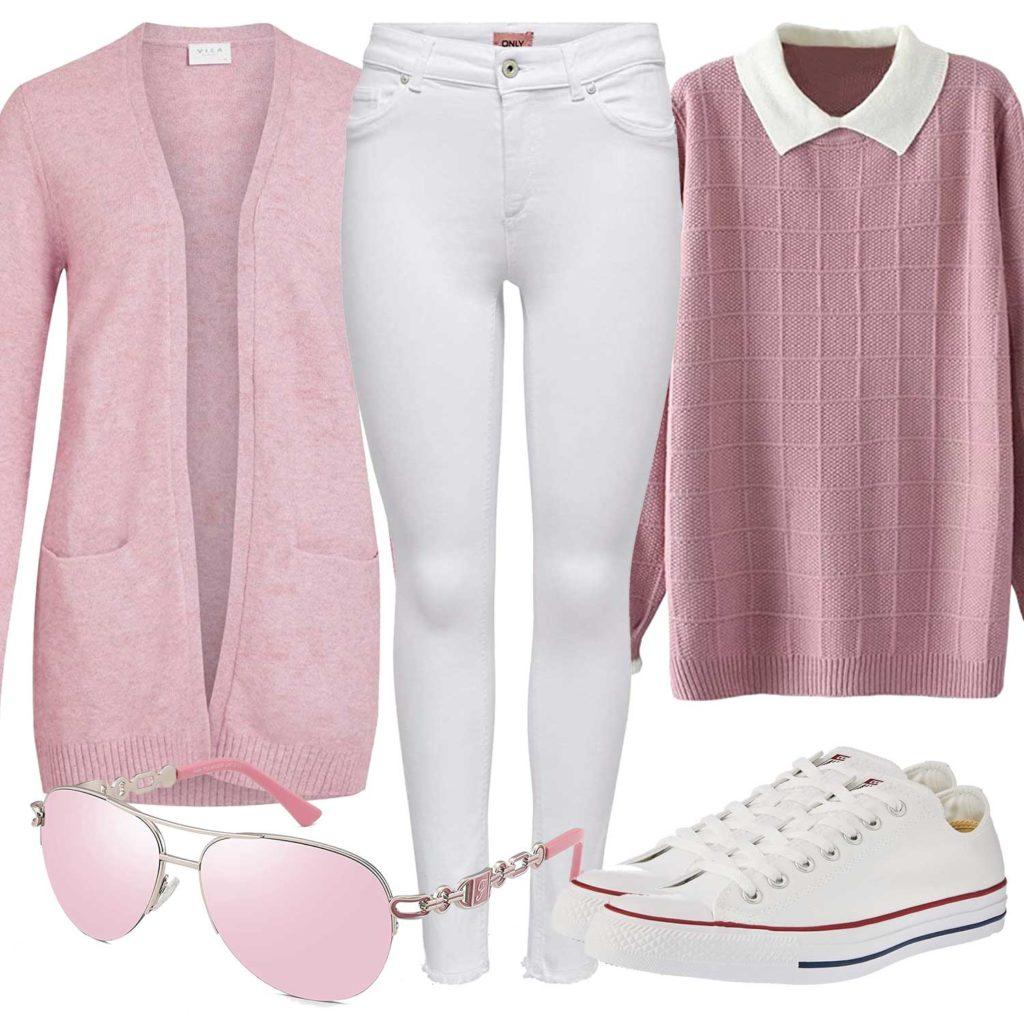 Weiß-Rosa Damenoutfit mit Strickjacke und Bluse