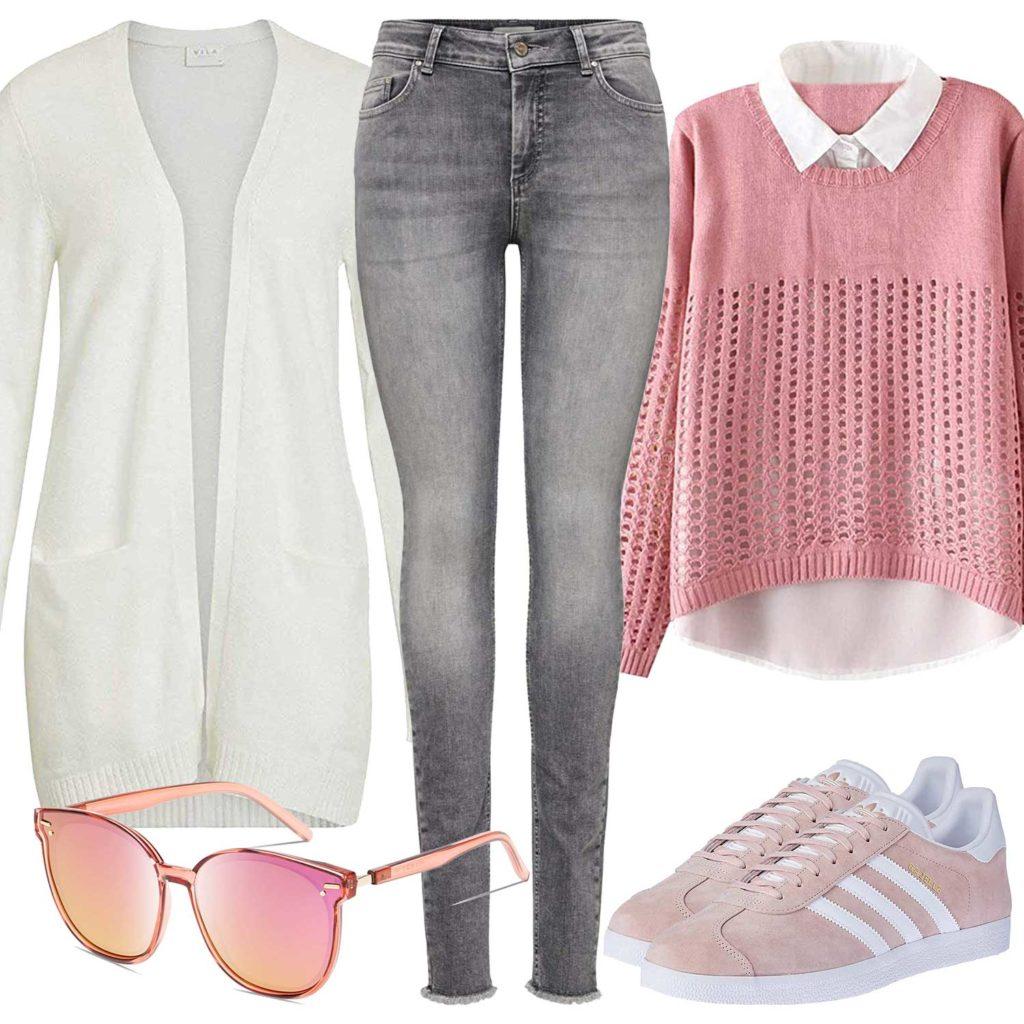 Rosa Damenoutfit mit Bluse, Brille und Sneakern