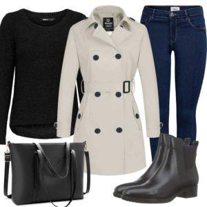 Herbst-Style mit Jeans, Trenchcoat und Stiefeln