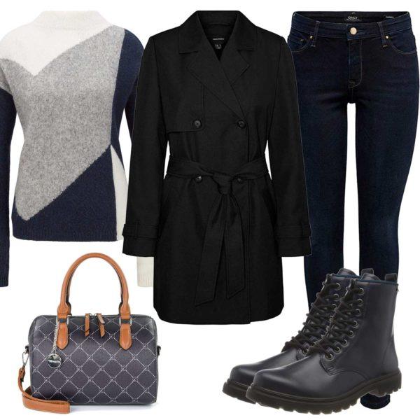 Herbst-Damenoutfit mit Jeans, Tasche und Stiefeln
