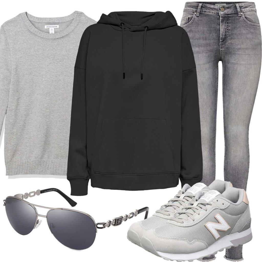 Graues Damenoutfit mit Hoodie und Jeans