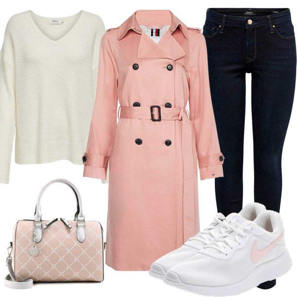 Damen-Herbstoutfit mit rosa Tasche und Trenchcoat