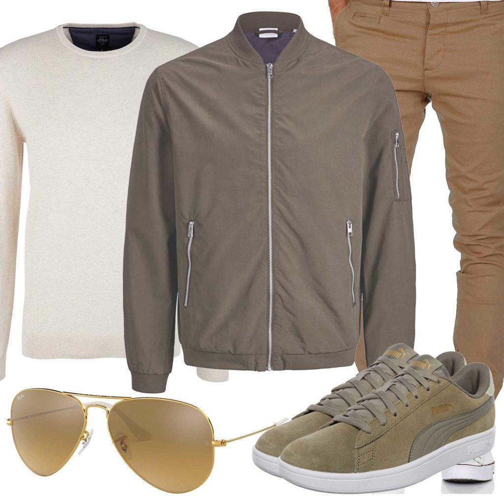Beiger Herren-Style mit Jacke, Chino und Brille