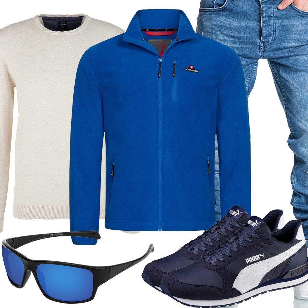Blaues Herrenoutfit mit Jacke, Jeans und Brille