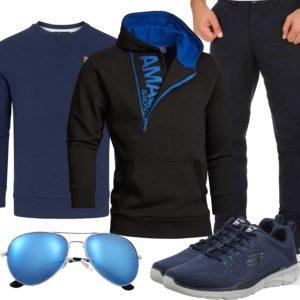 Schwarz-Blaues Herrenoutfit mit Hoodie und Chino