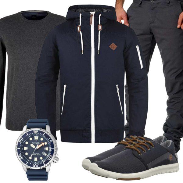 Blau-Graues Herbst-Herrenoutfit mit Jacke