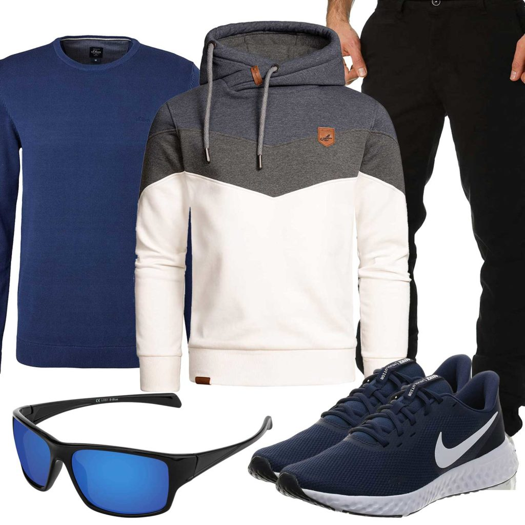 Herren-Style mit Hoodie, Chino und Brille