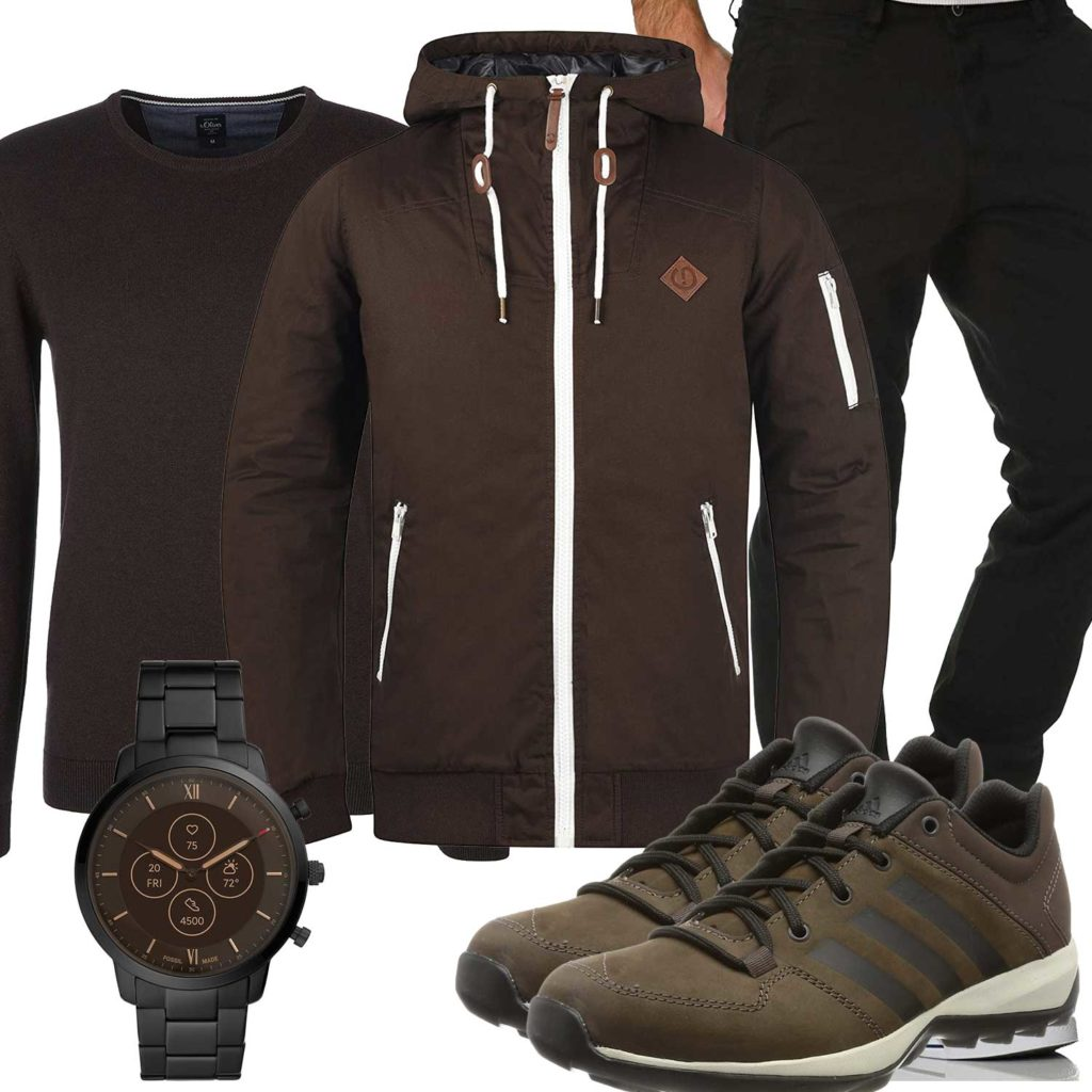 Herbst-Herrenoutfit mit brauner Jacke und Schuhen