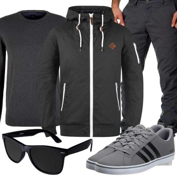 Graues Herrenoutfit mit Jacke und Pullover