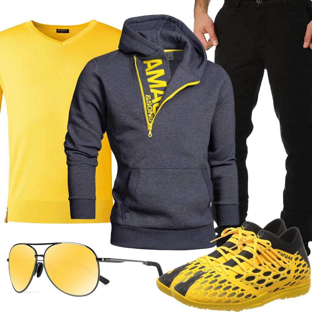 Schwarz-Gelbes Herrenoutfit mit Hoodie