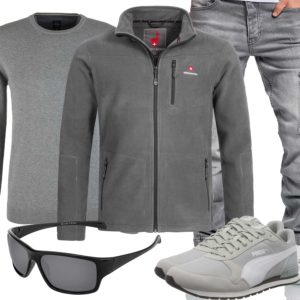 Grauer Style für Männer mit Puma Sneakern