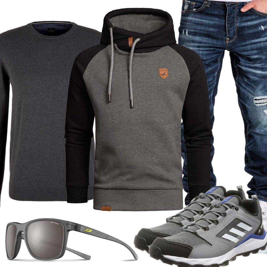 Graues Herrenoutfit mit Hoodie, Sneaker und Brille