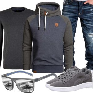 Grau-Blaues Herrenoutfit mit Hoodie und Brille