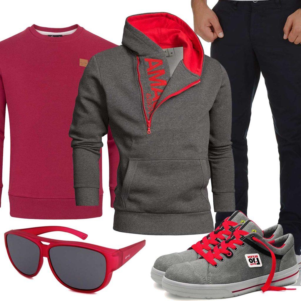 Rot-Graues Herrenoutfit mit Hoodie und Brille