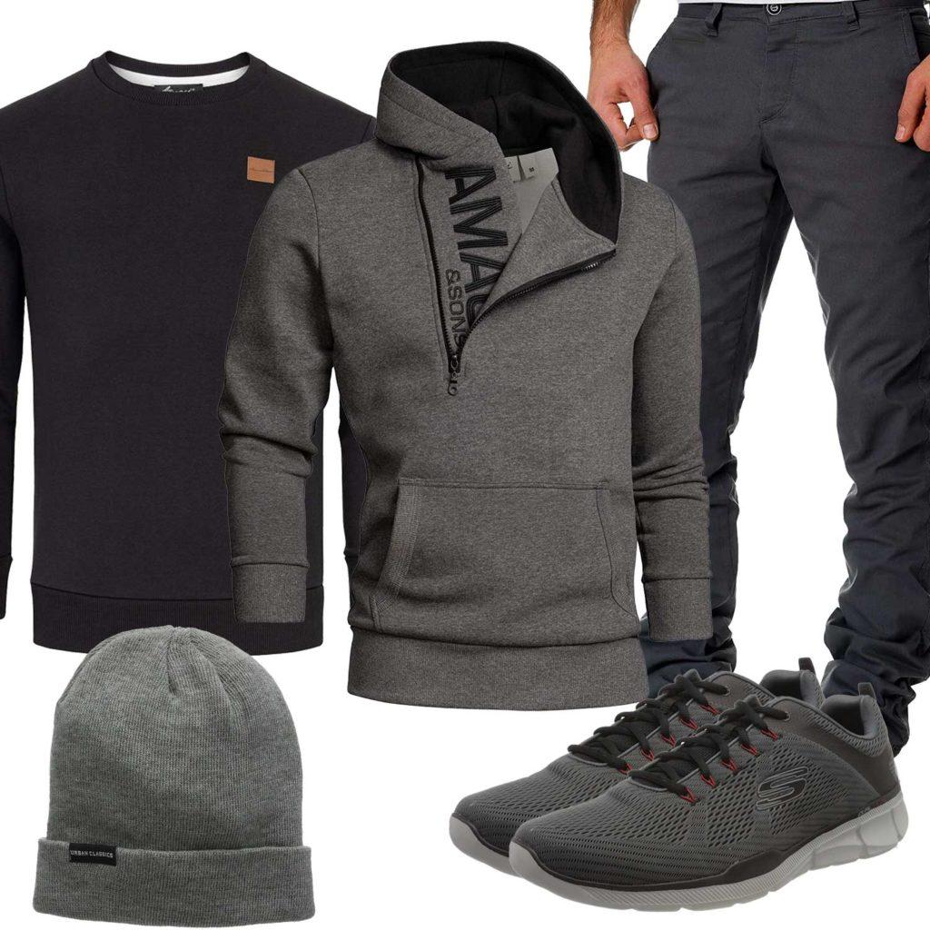 Grau-Schwarzes Herrenoutfit mit Mütze