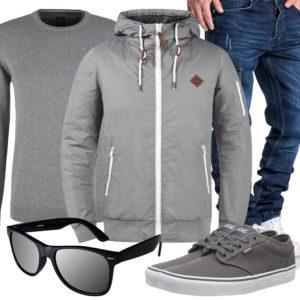 Graues Herrenoutfit mit Jacke, Pullover und Sneakern