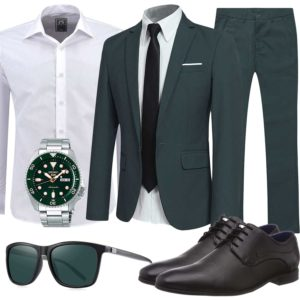 Business-Herrenoutfit mit dunkelgrünem Anzug