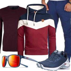 Blau-Rotes Herrenoutfit mit Hoodie und Brille